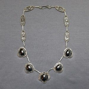 Jewelry - antique 925 sterling Mexico Hematite necklace